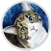 Bubbles - Tabby Cat Painting Round Beach Towel