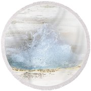 Round Beach Towel featuring the photograph Bubbling Geyser Pool 2 by Nadalyn Larsen