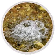 Bubbling Water In Rock Fountain Round Beach Towel