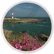 Buchan Ness Lighthouse And Spring Flowers Round Beach Towel