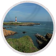 Buchan Ness Lighthouse And The North Sea Round Beach Towel
