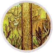 Round Beach Towel featuring the pyrography Buck And Deer  by Patricia L Davidson