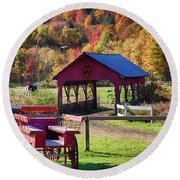 Round Beach Towel featuring the photograph Buck Board Ready For Fall Colors by Jeff Folger