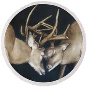Round Beach Towel featuring the painting Buck Deers Antlers Shuffle by Kelly Mills