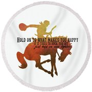 Round Beach Towel featuring the photograph Buck Happy by Jamart Photography