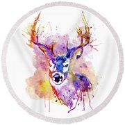 Round Beach Towel featuring the mixed media Buck by Marian Voicu