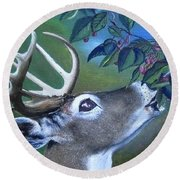 Round Beach Towel featuring the painting Buck by Mary Ellen Frazee