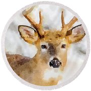 Round Beach Towel featuring the painting Buck Profile by Steven Santamour