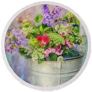Bucket Of Flowers Round Beach Towel