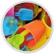 Buckets And Spades Round Beach Towel