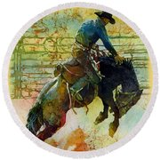 Bucking Rhythm Round Beach Towel