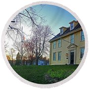 Buckman Tavern At Sunset Round Beach Towel