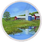 Bucks County Farm Round Beach Towel by Val Miller