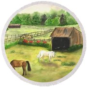 Round Beach Towel featuring the painting Bucks County Horse Farm by Lucia Grilletto