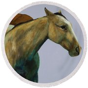 Round Beach Towel featuring the painting Buckskin by Frances Marino