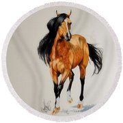 Buckskin Thoroughbred Round Beach Towel by Cheryl Poland
