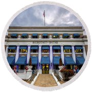 Round Beach Towel featuring the photograph Buckstaff Bathhouse - Christmas by Stephen Stookey