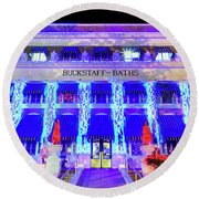 Round Beach Towel featuring the photograph Buckstaff Baths - Christmastime by Stephen Stookey