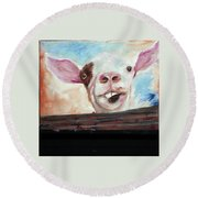 Bucktooth'd Goat Part Of Barnyard Series Round Beach Towel