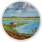 Round Beach Towel featuring the painting Bucolic St. John's by AnnaJo Vahle