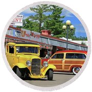 Round Beach Towel featuring the photograph Bud Tent Hot Rods by Christopher McKenzie