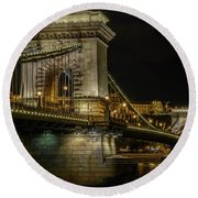 Round Beach Towel featuring the photograph Budapest Chain Bridge by Steven Sparks