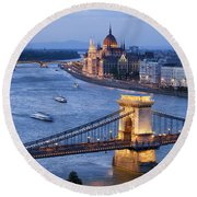 Budapest Cityscape At Dusk Round Beach Towel