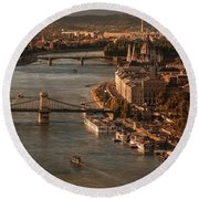 Round Beach Towel featuring the photograph Budapest In The Morning Sun by Jaroslaw Blaminsky