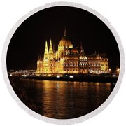 Round Beach Towel featuring the digital art Budapest - Parliament by Pat Speirs