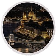 Budapest View At Night Round Beach Towel by Jaroslaw Blaminsky
