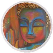 Buddha Blessings Round Beach Towel