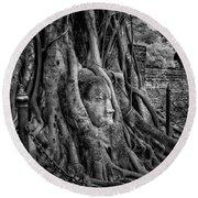 Buddha Head Ayutthaya Round Beach Towel