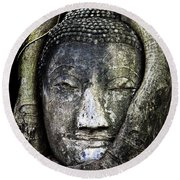 Buddha Head In Banyan Tree Round Beach Towel