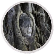 Buddha Head In Tree Round Beach Towel