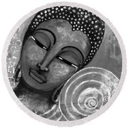 Buddha In Grey Tones Round Beach Towel