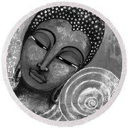 Round Beach Towel featuring the mixed media Buddha In Grey Tones by Prerna Poojara
