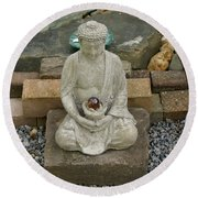Buddha In The Garden Round Beach Towel