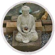 Buddha In The Garden Round Beach Towel