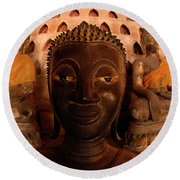Round Beach Towel featuring the photograph Buddha Laos 1 by Bob Christopher