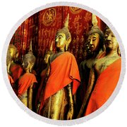 Round Beach Towel featuring the photograph Buddha Laos 2 by Bob Christopher