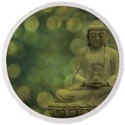 Buddha Light Gold Round Beach Towel