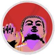 Round Beach Towel featuring the digital art Buddha Pop Art  by Jean luc Comperat