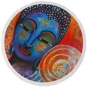 Round Beach Towel featuring the painting Buddha by Prerna Poojara