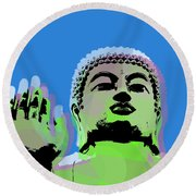 Round Beach Towel featuring the digital art Buddha Warhol Style by Jean luc Comperat