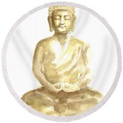 Buddha Watercolor Art Print Painting Round Beach Towel