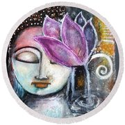 Round Beach Towel featuring the mixed media Buddha With Torn Edge Paper Look by Prerna Poojara
