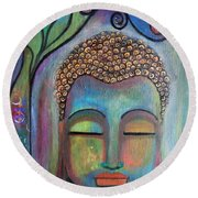 Buddha With Tree Of Life Round Beach Towel