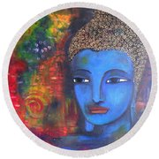 Buddha Within A Circular Background Round Beach Towel