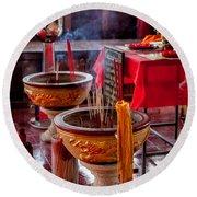 Buddhist Incense Round Beach Towel
