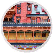 Round Beach Towel featuring the photograph Buddhist Monastery Building by Alexey Stiop
